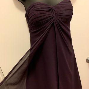 like new Bill Levkoff purple strapless sheer dress